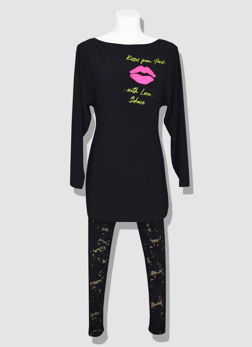 Paris fluorescent dress with long sleeves and black lace leggings. The fashion and trendy souvenir to make someone happy.