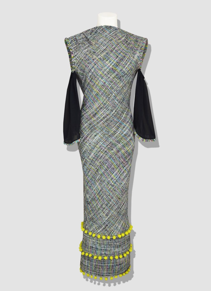 Long tweed dress with black silk sleeves and 3 bands of yellow pompoms. beautiful plunging backless.