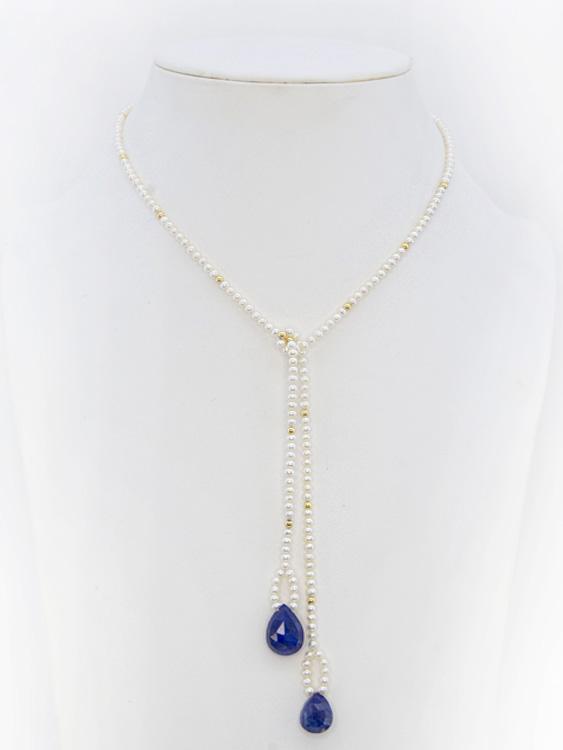 Lapis-lazuli . Perle . Boule or 18k